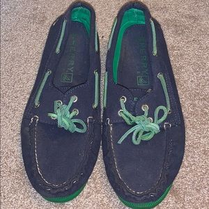 Navy blue and green Sperry shoes
